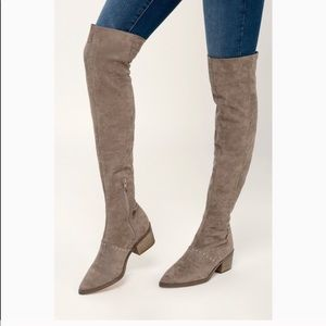 Report Zaria Over Knee Faux Suede Boots Stud 8.5
